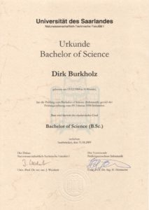 Urkunde Bachelor of Science